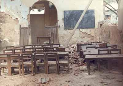 Damaged Hindu school - for buiding mosque